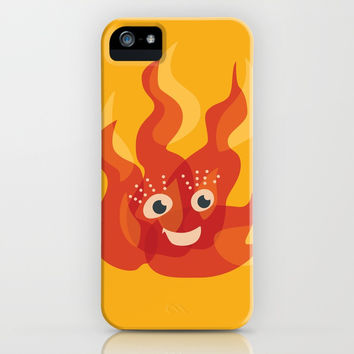 Happy Burning Cartoon Fire iPhone Case by borianagiormova