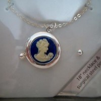 eBlueJay: Blue Cameo Locket Necklace Earring Set Costume Jewelry Fashion Accessories For Her