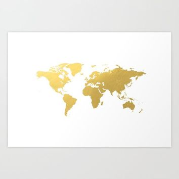 Gold World Map Art Print by New Wave Studio