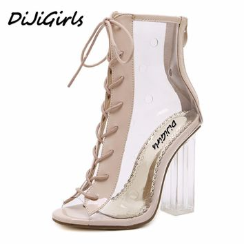 DiJiGirls summer Peep Toe ankle sandals boots Transparent Cross-tied crystal square heels women's high heels shoes woman pumps