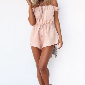 Peach Off Shoulder Mura  Maui JUMPSUIT Skirt JUNE PLAYSUIT