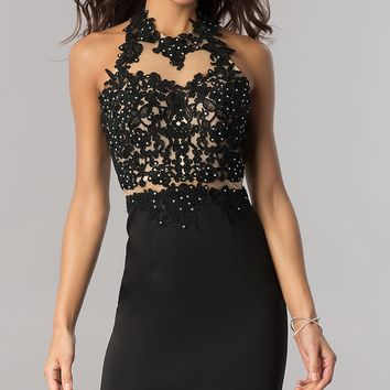 Lace-Applique Short Black Homecoming Dress with Halter