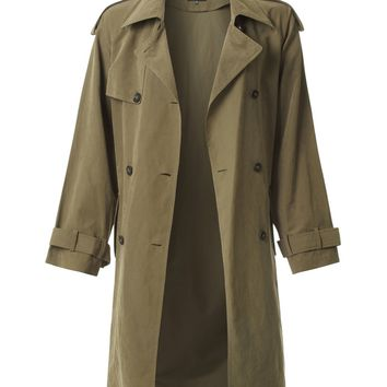 LE3NO Womens Lightweight Oversized  Belted Trench Coat Jacket with Pockets