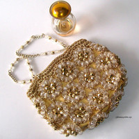 Vintage Petite Evening Bridal  Beaded Bag Mad by GLAMOURGIRLCHIC