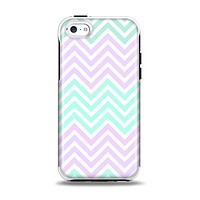 The Light Teal & Purple Sharp Chevron Apple iPhone 5c Otterbox Symmetry Case Skin Set