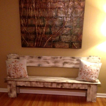 Large Rustic Wooden Bench, Country Cottage Decor, YOU CHOOSE COLOR