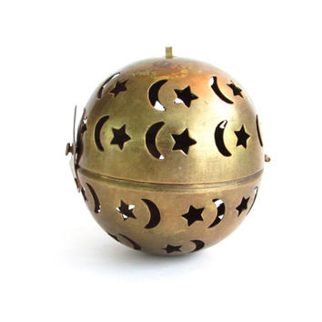 Vintage Brass Incense Burner, Hanging Incense Ball, Stars and Moon, Celestial Decor, Potpourri Hinged ball, Brass Ornament