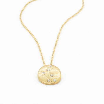 Hand Made LIBRA Zodiac Sign Constellation Necklace 18K Gold Plated Constellation Necklace Libra Star Sign Charm Zodiac Charm Small N079