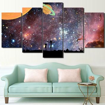 5 Pieces Rick and Morty Wall Art Canvas Panel Print Picture Stars Universe Sky