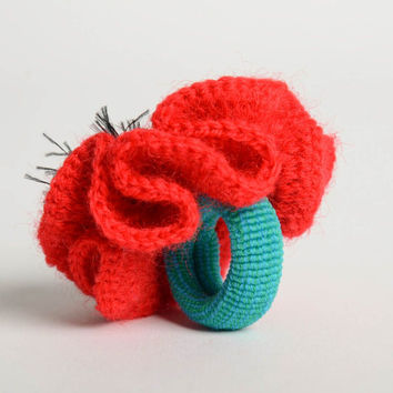 Unusual handmade crochet scrunchie flowers in hair designer hair accessories
