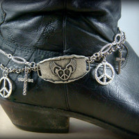 Boot Bling ~ Bracelets for Boots ~ Boot Bracelet ~  Boot Jewelry - Flying Heart - Peace - Cross