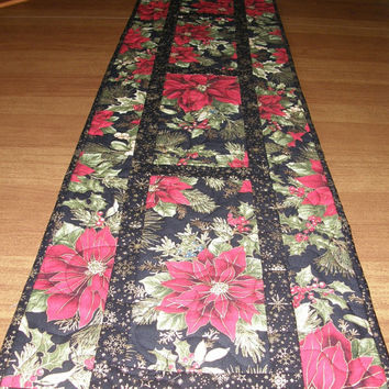 Red Poinsettia with Greenery Christmas Quilted Table Runner Red Black Quilt