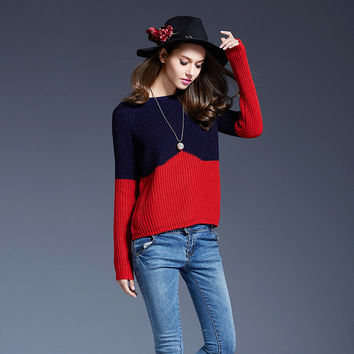 Women's Fashion Contrast Color Boat Neck Long Sleeves Pullover Sweater