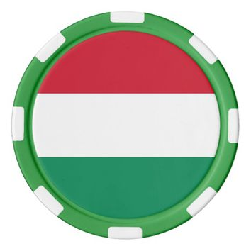 Poker chips with Flag of Hungary
