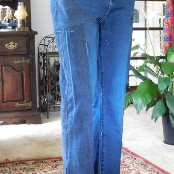 Two Tone Jeans Patched Embellished Pockets High Waist Upcycled Size 12 Patchwork Style Festival Pants Hippie Boho Short Inseam Blue Denim