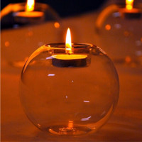 Transparent Round Glass Candle Holder