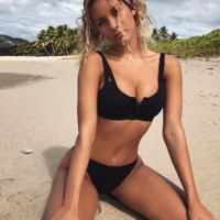 Fashion new pure black chest zipper two straps two piece bikini