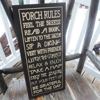Porch, Deck, Patio Rules Sign Wall Sign Carved Engraved 9x20