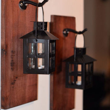 Black Lantern Tea Light Holder on Reclaimed Wood, Rustic Home Decor, Bedroom Decor, Unique Home Decor, Gift Ideas,