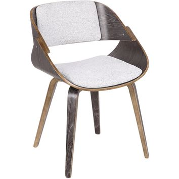 Fortunato Mid-Century Dining / Accent Chair with White Fabric, Dark Grey