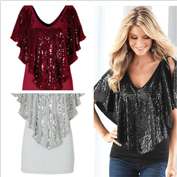 Shawl Sequins Splicing Sexy Stretch Blouse