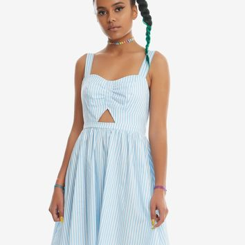 Blue & White Striped Cut-Out Fit & Flare Dress