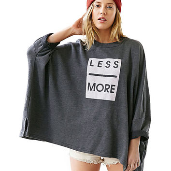 Dark Grey Less More Print Long Sleeve Graphic Tee