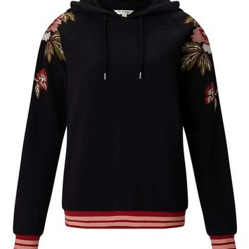 Black Embroidered Hoody - Tops - Apparel