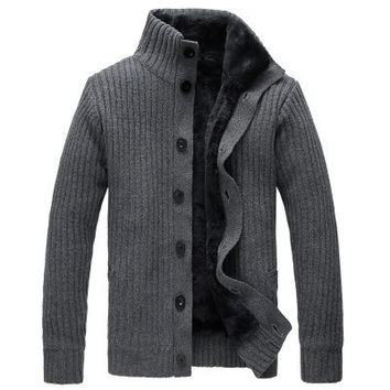 Mens Slim Casual Turtleneck Button-Up Sweater
