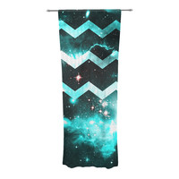 "Alveron ""Aqua Galaxy Chevron"" Decorative Sheer Curtain"