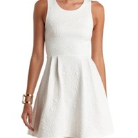 Geo-Quilted Sleeveless Skater Dress by Charlotte Russe - White