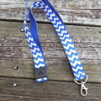 Royal Blue Stripe Chevron Ribbon, Safety Breakaway Lanyard, ID Badge,Cell Phone, Key Holder