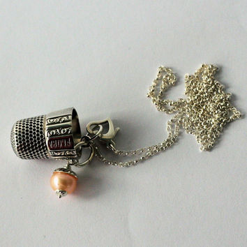 Antique Sterling Silver Peter Pan Thimble Necklace with Acorn Charm Solid Sterling Silver