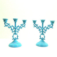 candle holders, ornate candelabra set, weddings, turquoise, decor, goth, victorian, upcycled home decor, bohemian