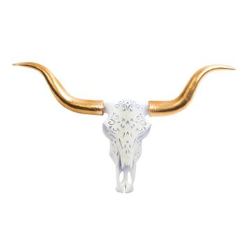 The Carved Austin | Large Carved Longhorn Cow Skull | Faux Taxidermy | White + Gold Longhorn Resin