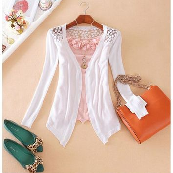 2017 New Fashion Women Cardigan Lace Sweet Candy Pure Color Sexy Slim Crochet  Sweater High Quality 10 Colors Available
