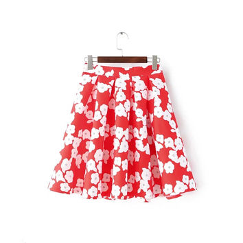 Red Floral Print Ball Gown Zipper Pleated Skirt