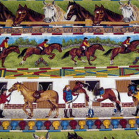 Gymkhana Border Stripe Horse Cotton Quilting Fabric - Makower UK Fabrics - 1/2 yard - destash 046 Equestrian