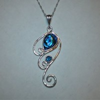 Paua Abalone Shell Waves Swirls Necklace in Sterling Silver | FantaSea Jewelry STX