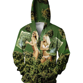 420 Pillow Fight Zip-Up Hoodie weed and blondes 3d Outfits Women Men  Tops Jumper Sweatshirts Jumper With Zipper Outerwear