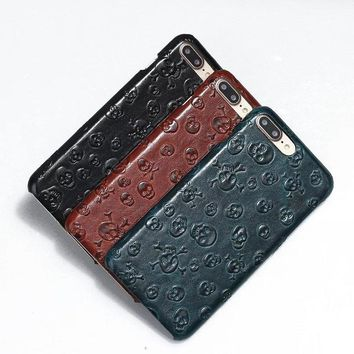 Vegan Leather Skulls iPhone Case
