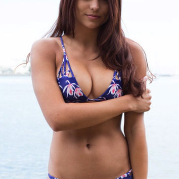 The Girl and The Water - ACACIA Swimwear - Santorini Bikini Top / Blue Island Orchid - $101