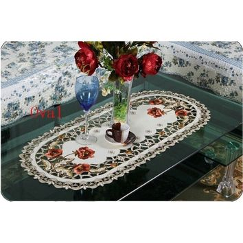 Hollow Embroidered Table Runner Red Floral Cutwork Tablecloth Table Home Decor