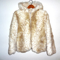 Vintage FAUX FUR Jacket Clueless Coat White Beige TRF Knitwear Womens Club Kid Raver Boho Soft Grunge Festival Size Large