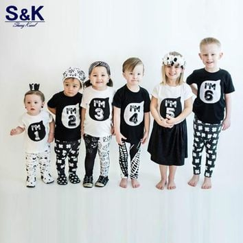 Children's Clothing T-shirts Tops Children's Clothes Girls Boys 1234 Year Birthday Party Toddler Baby Outfit Shirts Costume -033