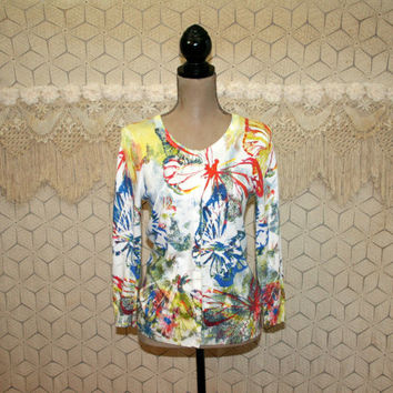 Colorful Abstract Butterfly Print Cardigan Sweater Small Spring 3/4 Sleeve Light Lightweight Rayon Womens Clothing