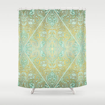 Mint & Gold Effect Diamond Doodle Pattern Shower Curtain by Micklyn