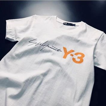 Adidas Y-3 Trending Women Men Stylish Simple Print Short Sleeve Round Collar T-Shirt Top White I12886-1