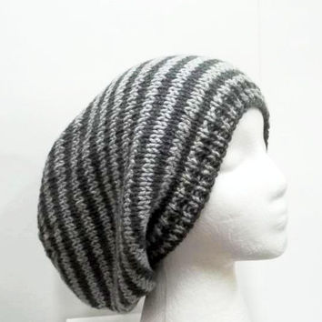 Light gray and dark gray stripes  Slouchy beanies hat , large size 5229