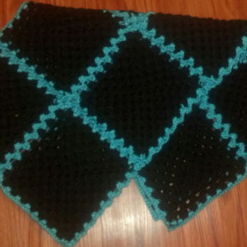 Black and Teal (Blue) Crochet Baby Blanket, Crochet Afghan, Crochet Blanket